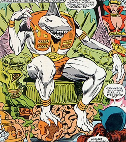 Carcharo (Infinity, Inc. enemy) (DC Comics) on his throne