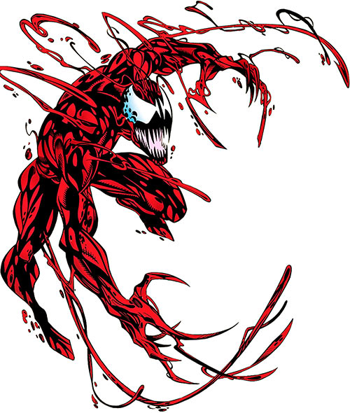 Carnage (Spider-Man) (Marvel Comics) leaping with claws and tendrils out