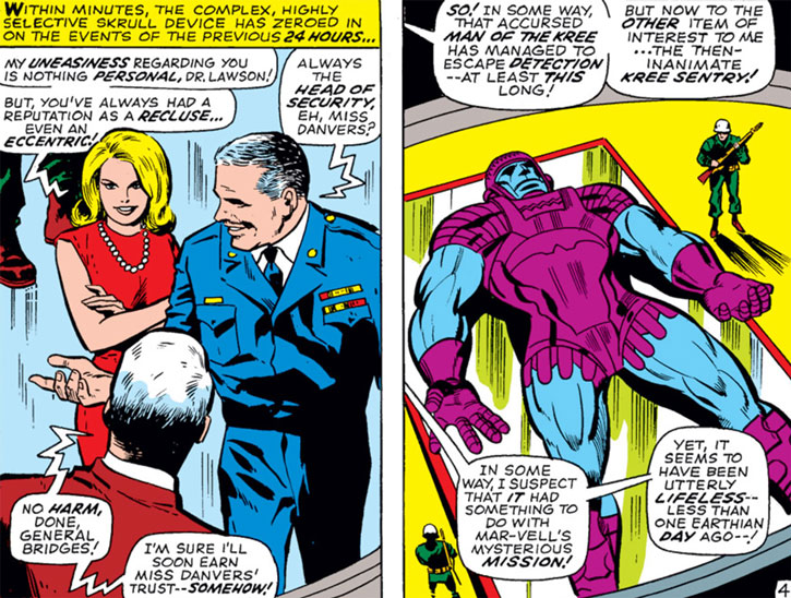 Carol Danvers, General Bridges and a Kree Sentry (Marvel Comics)