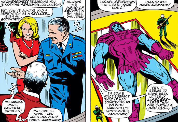 Carol Danvers, General Bridges and a Kree Sentry (Marvel Comics)