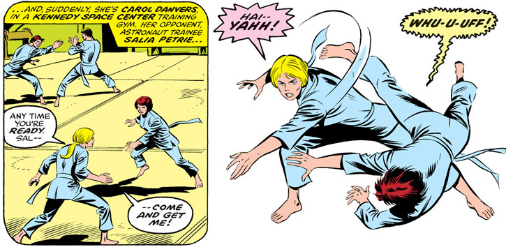 Carol Danvers (Ms. Marvel Comics) training in the martial arts