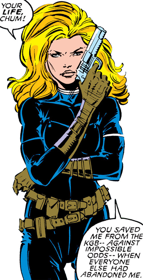 Carol Danvers (Earliest) (Marvel Comics) in a black jumpsuit