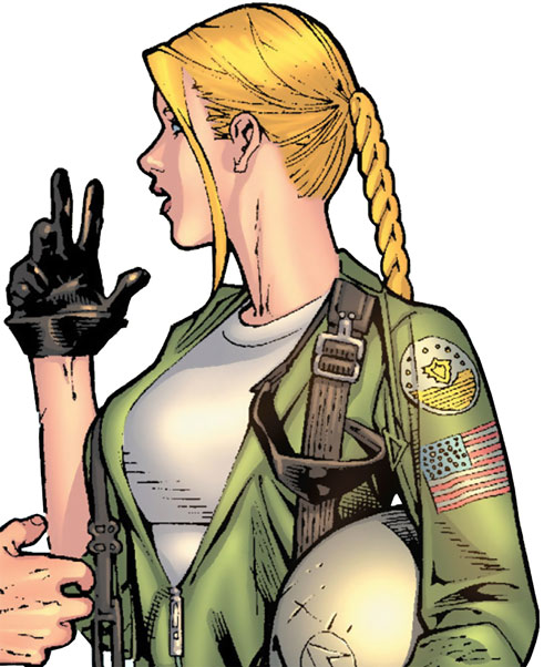 Carol Danvers (Earliest) (Marvel Comics) in a flight suit, gloved hand raised