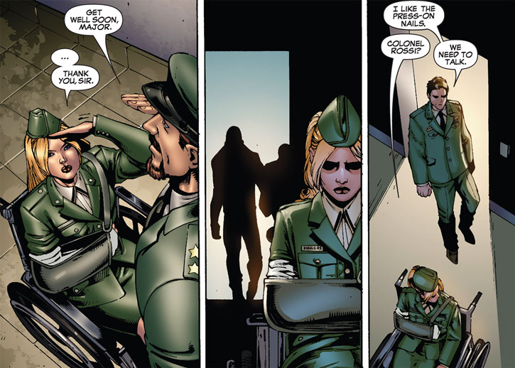 Carol Danvers (Ms. Marvel Comics) in uniform, wounded, in a wheelchair