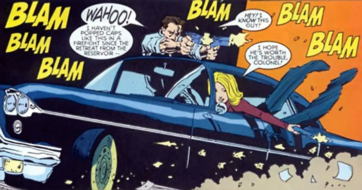 Carol Danvers and Nick Fury do a drive-by shooting