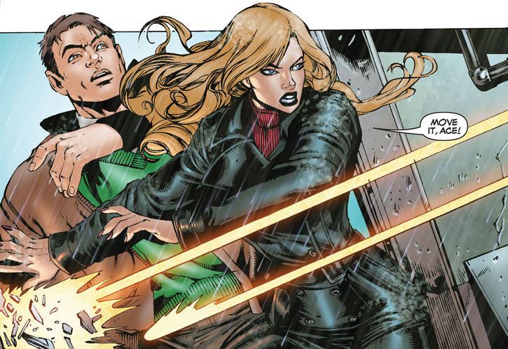 Carol Danvers and Michael Rossi under fire