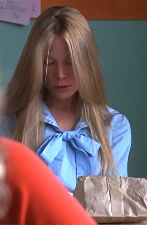 Stephen King's Carrie (Sissy Spacek) in a light blue blouse