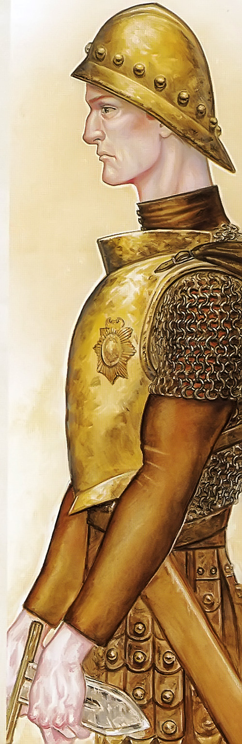 Carrot Ironfoundersson (Discworld) as a youth, in armor, side view