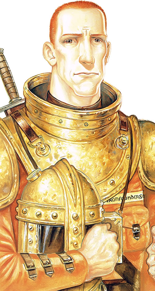 Carrot Ironfoundersson (Discworld) as a youth, in armor, helmet on arm