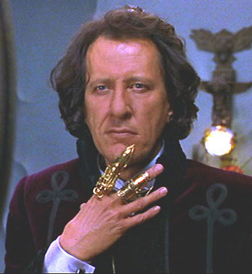 Casanova Frankenstein (Geoffrey Rush in Mystery Men) with his finger armor
