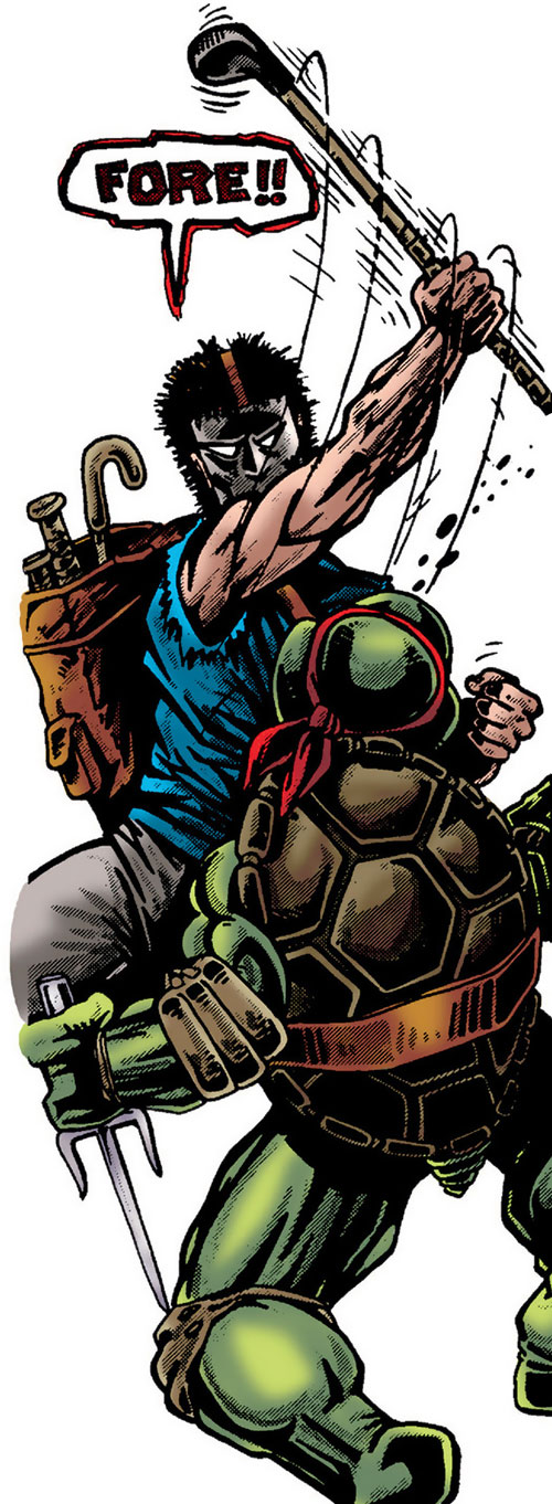 Casey Jones of the Teenage Mutant Ninja Turtles (TMNT comics) hits Raphael with a golf club