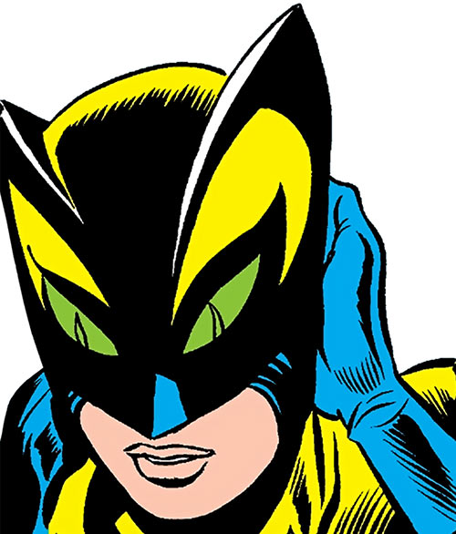 The Cat (Greer Nelson) (Marvel Comics) mask closeup