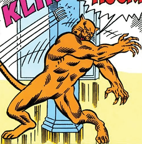 Cat People king (Tigra species) (Marvel Comics) the Balkatar dodging an attack