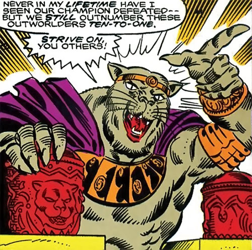 Cat People king (Tigra species) (Marvel Comics) ordering his men to attack
