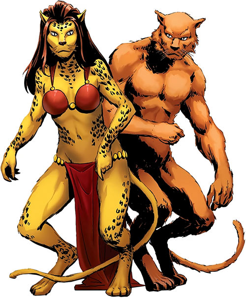 Cat People king (Tigra species) (Marvel Comics) typical female and male