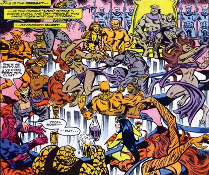 The Cat People having a party with Tigra and the West Coast Avengers