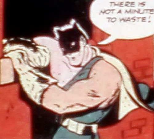 Catman (Golden Age comics) against a brick wall