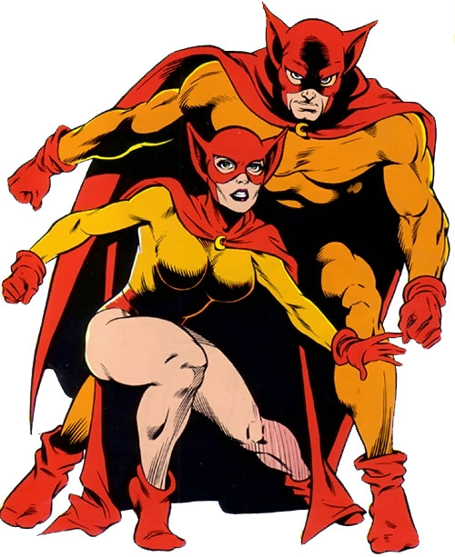 Catman and Kitten from the Femforce comics