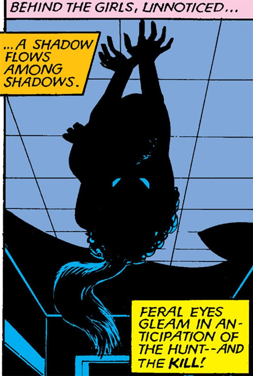 Catseye of the Hellions (Marvel Comics) walking on the ceiling in the dark