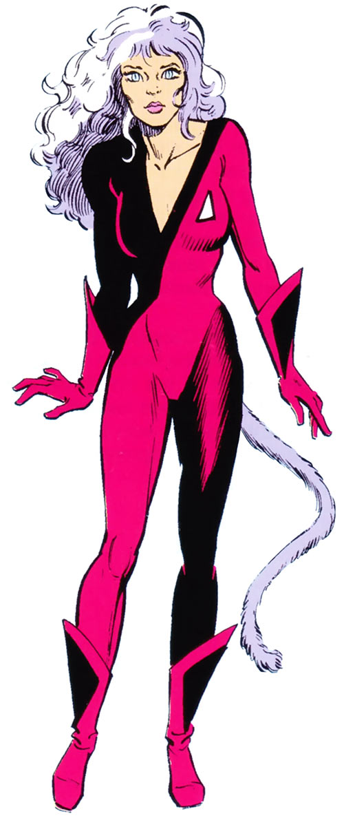 Catseye of the Hellions (Marvel Comics) in hear-human form and in uniform
