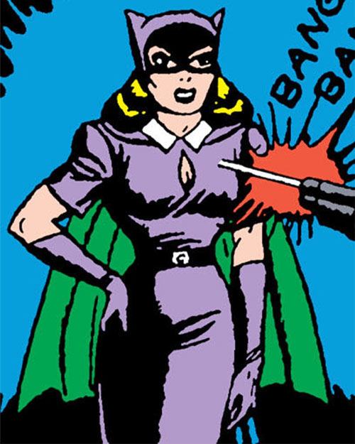 Catwoman 1940s (Batman character) (Golden Age DC Comics) purple dress green cape