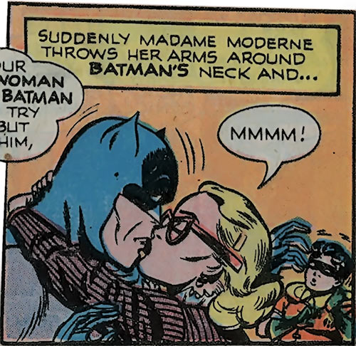 Catwoman (DC Comics) 1940s Madame Moderne kisses Batman