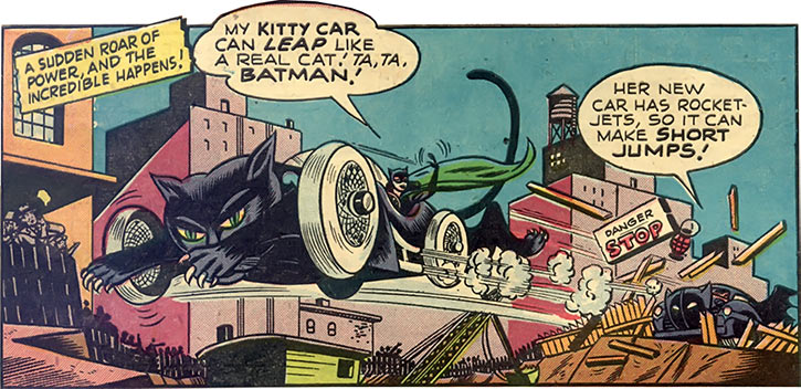 Catwoman (DC Comics) 1940s Kitty Car jumping leap