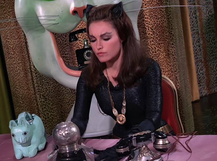 Catwoman (Julie Newmar) (Classic Batman 1966 TV series) unmasked in her cat lair