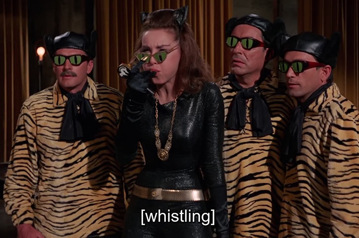 Catwoman (Julie Newmar) (Classic Batman 1966 TV series) with henchmen and cat sunglasses
