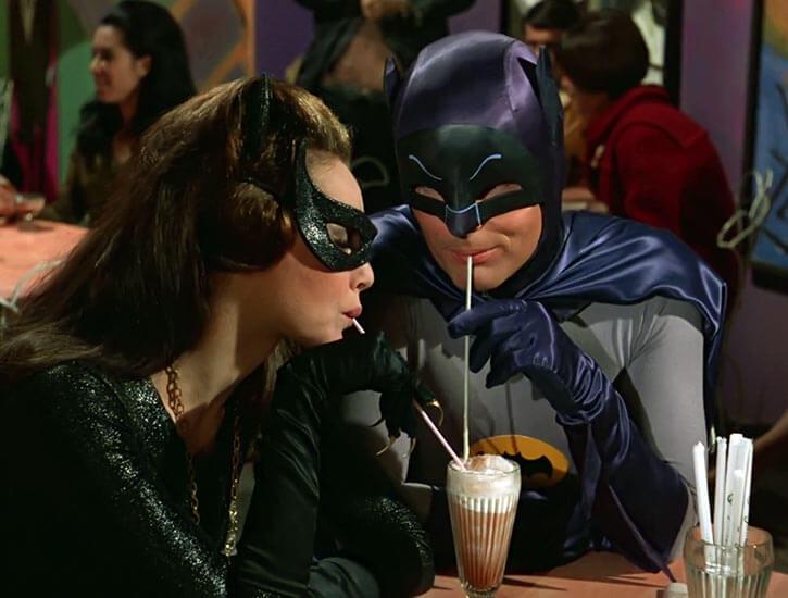 Catwoman (Julie Newmar) (Classic Batman 1966 TV series) straw drinking romantic