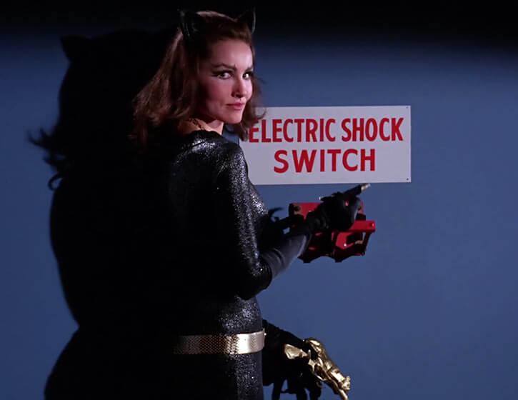 Catwoman (Julie Newmar) (Classic Batman 1966 TV series) electric shock switch dramatic shot