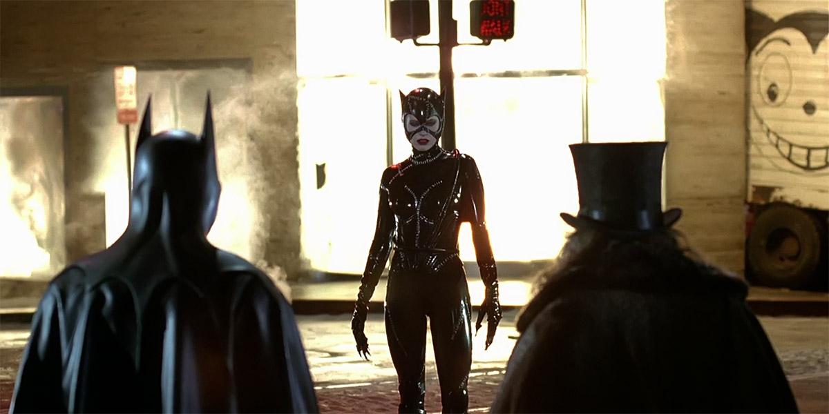 Catwoman (Michelle Pfeiffer) (Batman Returns 1992 movie) meow explosion Batman Penguin