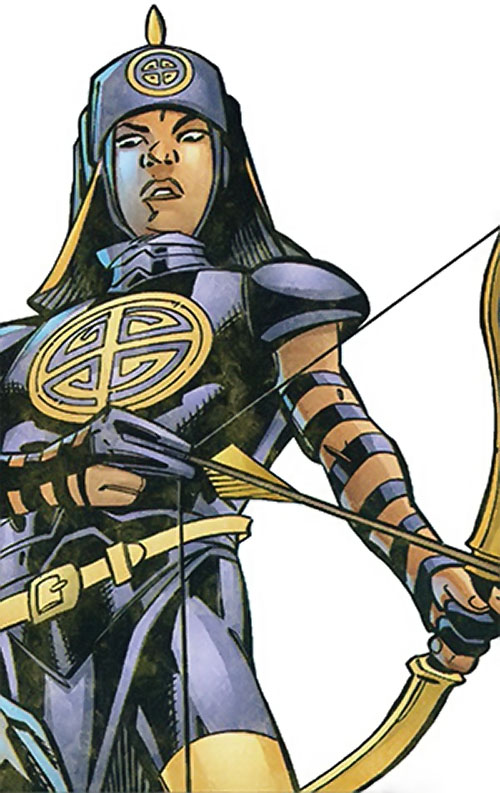 Celestial Archer of the Great 10 (DC Comics) low angle shot with arrow nocked