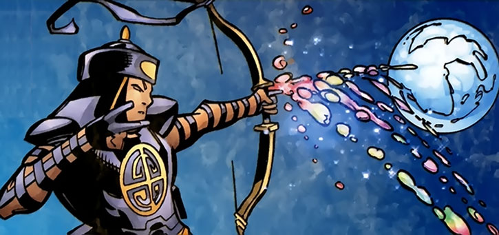 The Celestial Archer shoots a magical arrow at the Moon