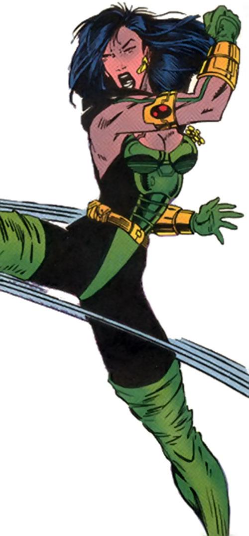 Cerebra of the X-Men 2099 (Marvel Comics) delivering a kick