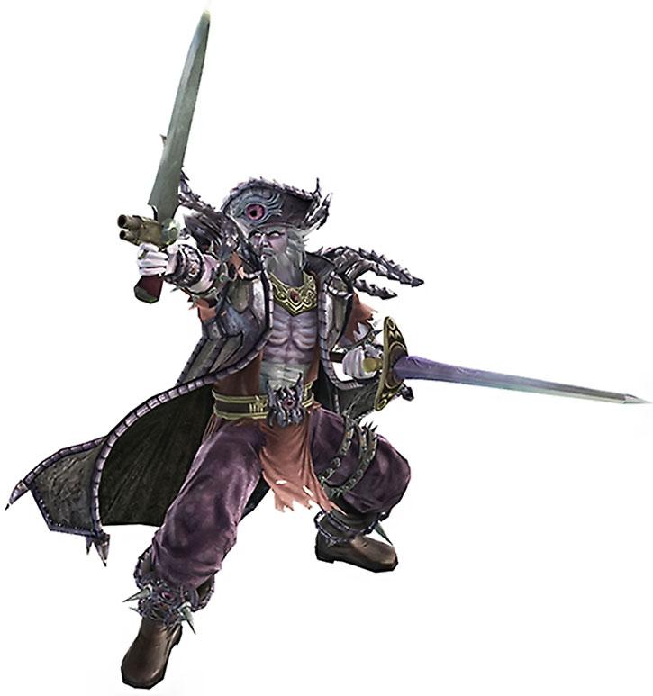 Cervantes de Leon dual-wielding a sword and a sword-pistol