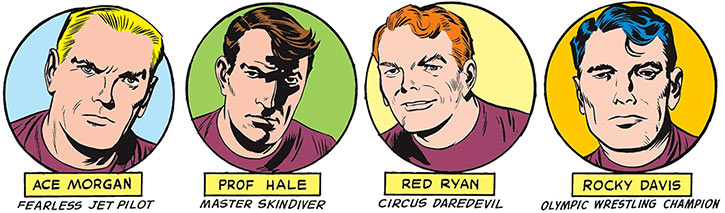 Challengers of the Unknown (Jack Kirby) (DC Comics) portraits circles
