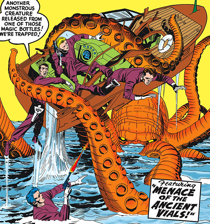Challengers of the Unknown (Jack Kirby) (DC Comics) vs giant octopus