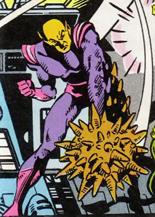 Chameleon Chief (Legion of Super-Villains) (DC Comics) with his hand as a giant spiked mace