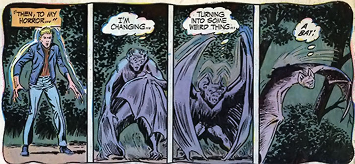The Changeling involuntarily turns into a bat