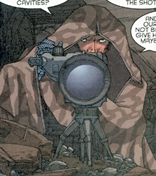 Charles Pinckney of Stormwatch Team Achilles (Wildstorm Comics) in a poncho with a telescope