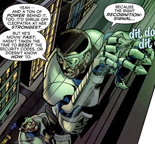 Royal and Charles Williams (Astro City Dark Age) (Vengeance Brothers) climbing a building