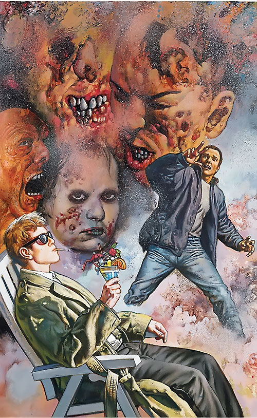 Chas Chandler (Hellblazer DC Comics) spooked by demon heads while Constantine relaxes