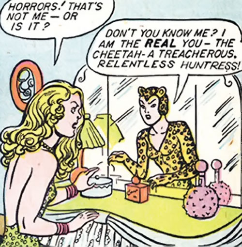Cheetah of Earth-2 (Wonder Woman enemy) (Golden Age DC Comics) talking to herself in a mirror