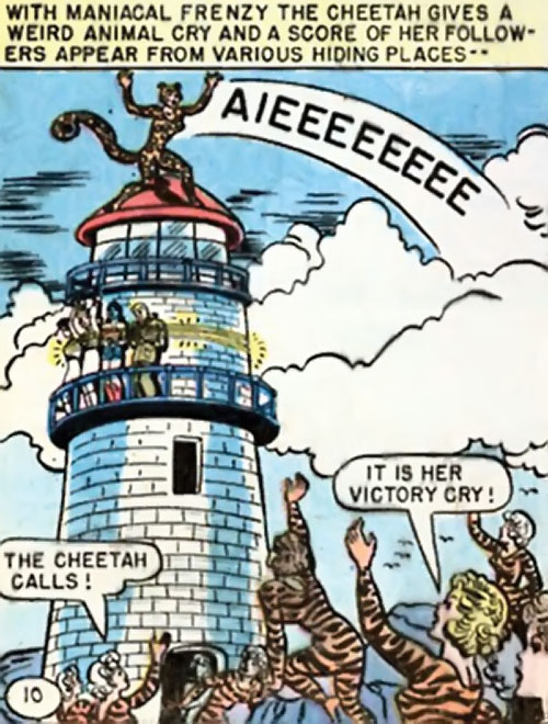 Cheetah of Earth-2 (Wonder Woman enemy) (Golden Age DC Comics) yelling in triumph atop a lighthouse