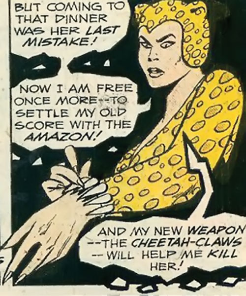 Cheetah of Earth-2 (Wonder Woman enemy) (Golden Age DC Comics) with her fighting bracers