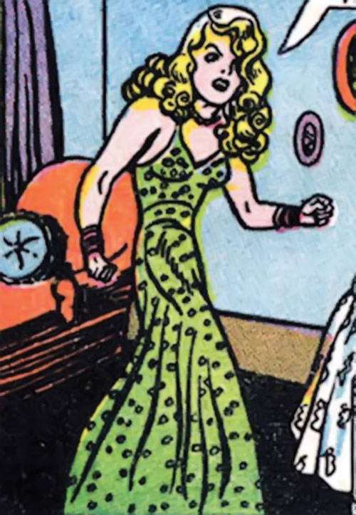 Cheetah of Earth-2 (Wonder Woman enemy) (Golden Age DC Comics) - Priscilla Rich in a green dress