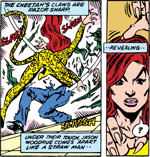 Cheetah (Wonder Woman enemy) (DC Comics) (Domaine) shredding a plant man