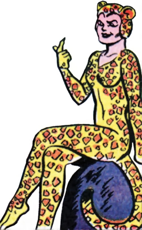 Cheetah (Wonder Woman enemy) (Golden Age DC Comics) of Earth-1 sitting on a rock