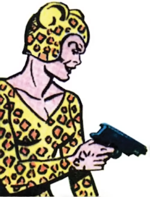 Cheetah (Wonder Woman enemy) (Golden Age DC Comics) of Earth-1 pointing a pistol
